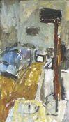 Böttcher, Manfred(Oberdorla/Thür. 1933 - 2001 Berlin)AtelierinterieurÖlfarben auf Hartfaser, 1993,
