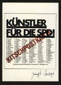 Beuys, Joseph(Krefeld 1924 - 1986 Düsseldorf)Kitschpostkarte - Künstler für die SPDOffsetdruck,