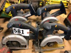 Lot of 4 Ryoabi 18 volt cordless circular saws