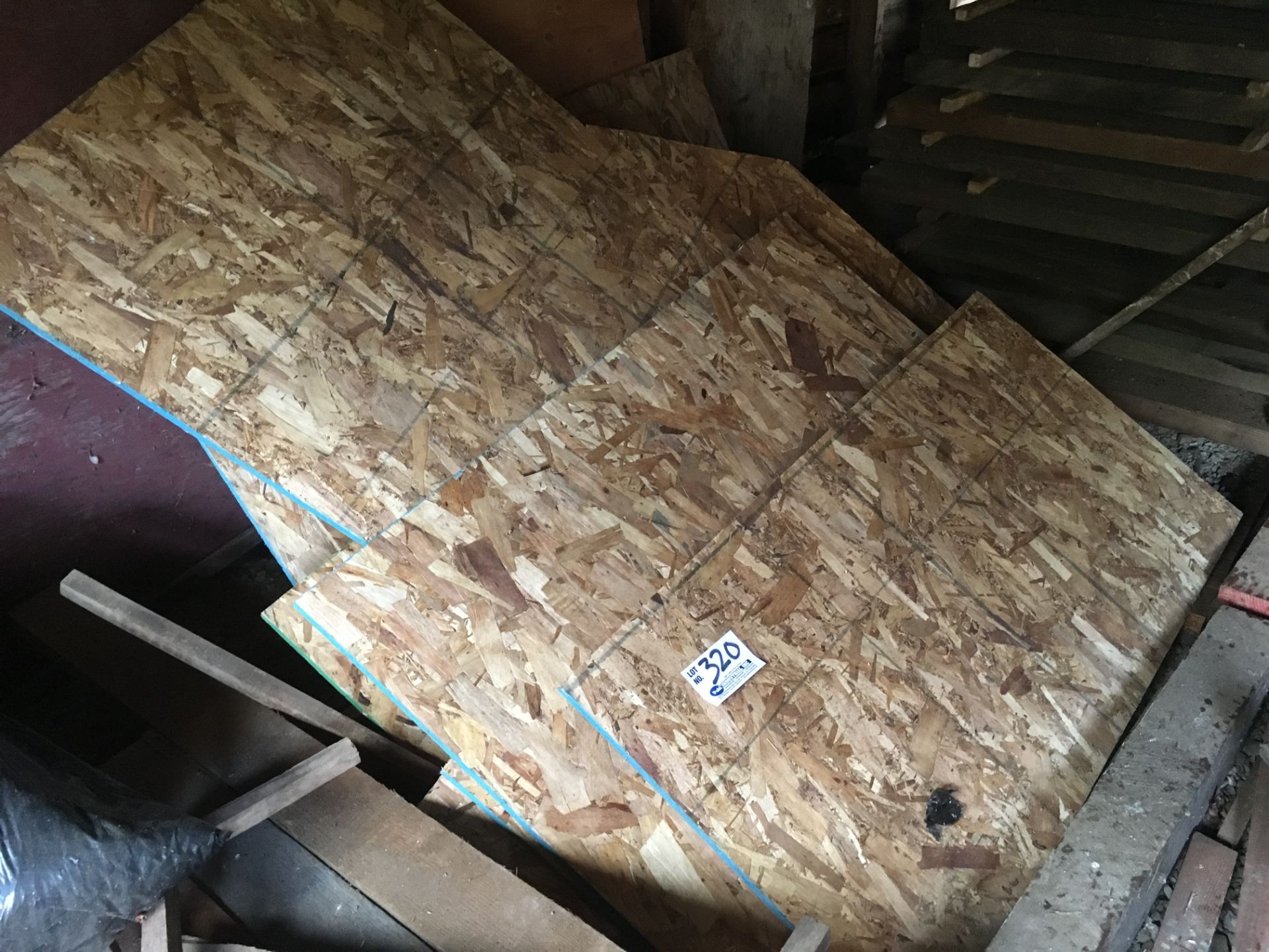 Lot 320 - Assorted Plywood in shed and on top of spalted stack