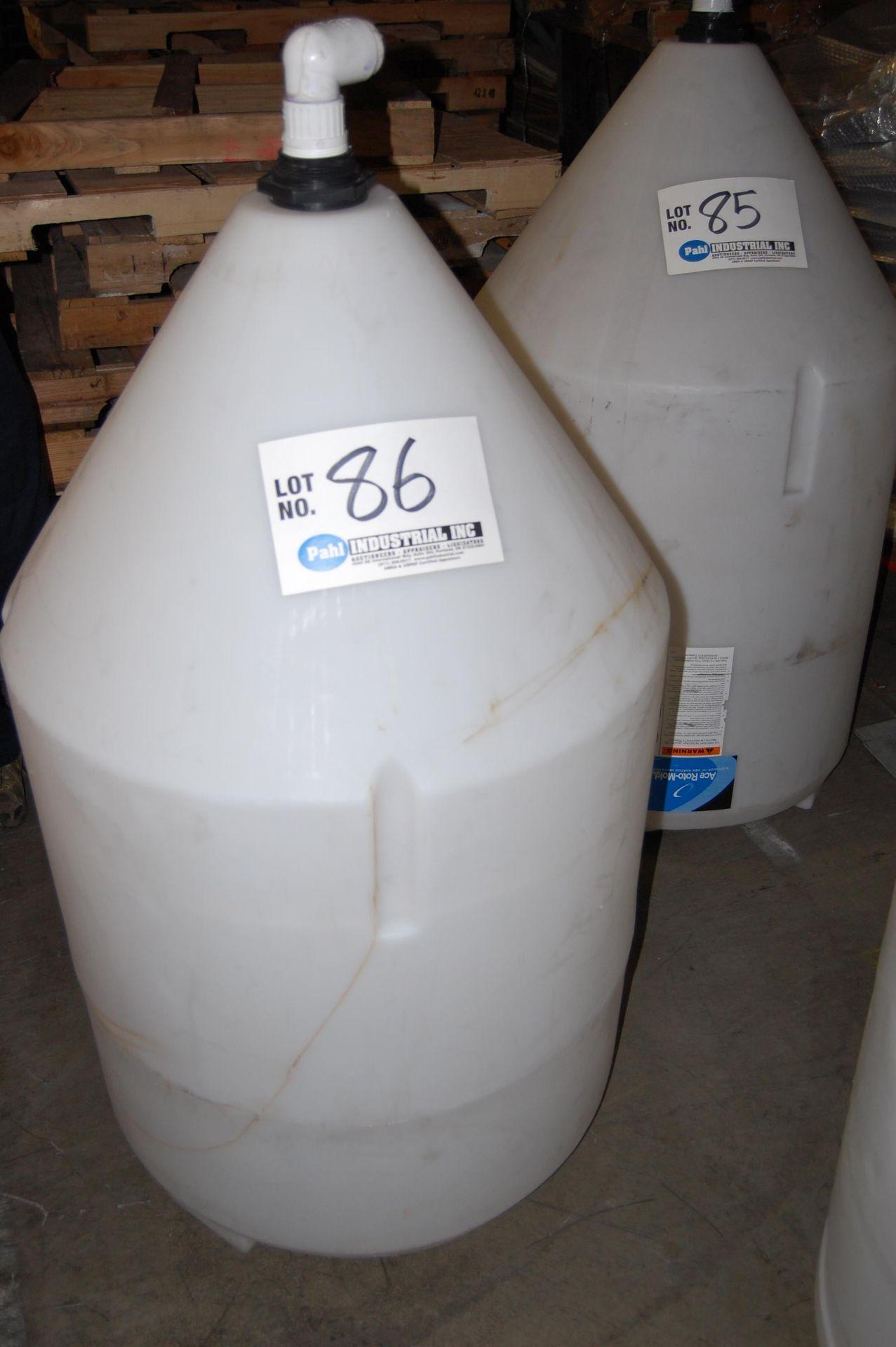 Lot 86 - Ace Roto-Mold 110 Gallon Inductor Full Drain Cone Bottom Tank