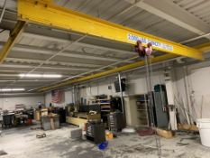 FSI 2000 lb. Bridge Crane 20' span 75' rails w/Chester Zephyr 1 ton Chain Hoist