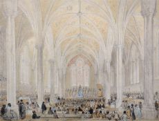 Early 19th Century English School. 'Temple Church', with Figures Listening to a Sermon,