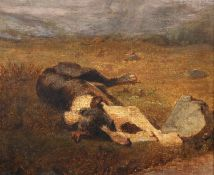 Attributed to Edwin Henry Landseer (1802-1873) British. Sketch of a Dog lying in a Field, Oil on