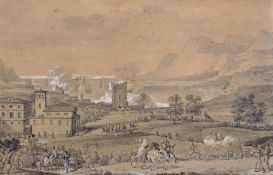 Late 18th Century French School. A Military Engagement, Pencil and Wash, Indistinctly Signed, in a
