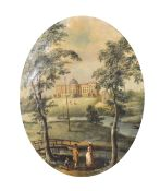 Late 18th Century French School. Figures in a River Landscape, with a Palatial House in the