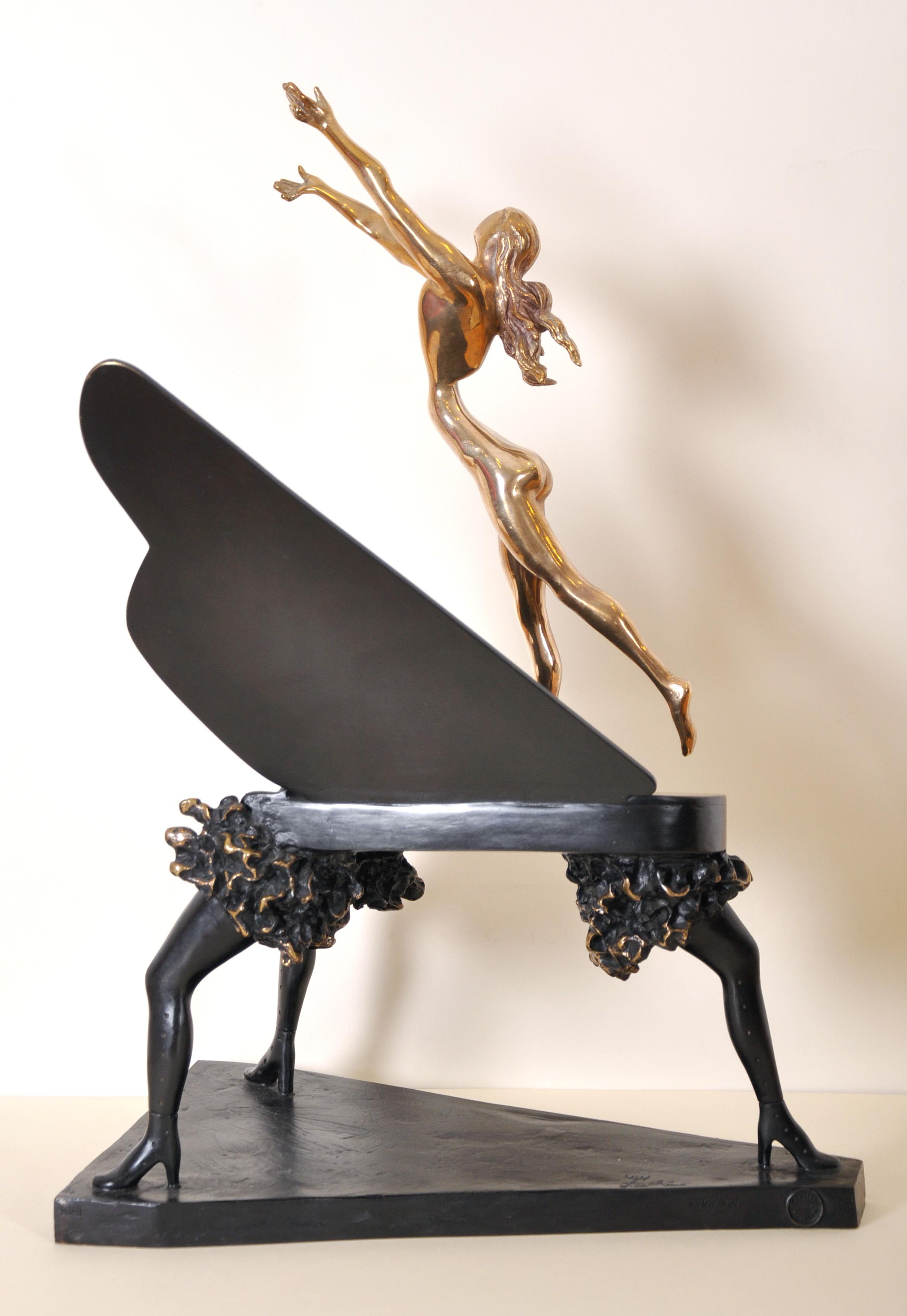 "Salvador Dali (1904-1989) Spanish. ""Surrealist Piano"", Sculpture-Volume, Bronze with Black Patina - Image 2 of 5"