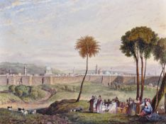 "Circle of Thomas Allom (1804-1872) British. ""Walls of Jerusalem"", Watercolour, contained in a loose,"