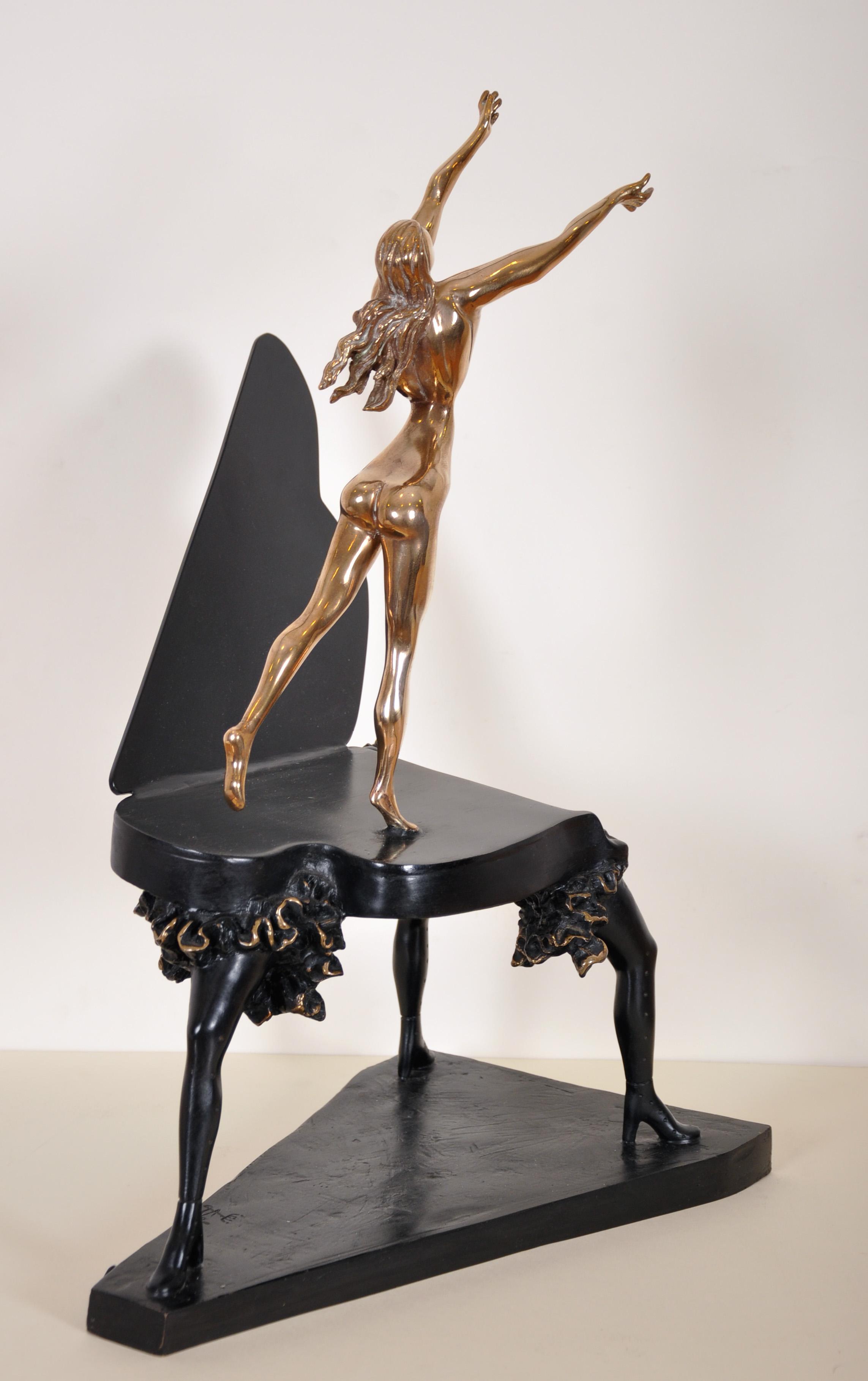 "Salvador Dali (1904-1989) Spanish. ""Surrealist Piano"", Sculpture-Volume, Bronze with Black Patina - Image 3 of 5"