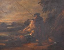 "Late 18th Century English School. Young Boys Fishing, Oil on Panel, 9.5"" x 12"" (24.2 x 30.5cm)"