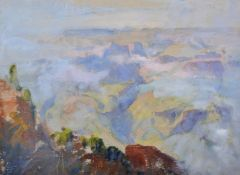 "Cecil Arthur Hunt (1873-1965) British. ""Grand Canyon from Powell's Point"", Watercolour, Bodycolour"