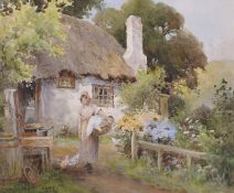 "Joshua Fisher (1859-1930) British. ""Old Cottage, Lower Bebbington [sic]"", with a Young Girl with"