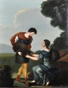 "Late 18th Century English School. Two Figures with a Boar's Head, Oil on Canvas, Unframed, 29.5"" x"