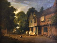 "Andrew Wilson (1780-1848) British. ""A View of The Bell Inn Hurley, Herts"", with Figures and Dogs"