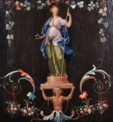 "18th Century Italian School. A Goddess on a Pedestal, Oil on Panel, 16"" x 15.5"" (40.8 x 39.4cm)"