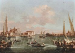 Follower of Francesco Guardi (1712-1793) Italian. A Venetian Canal Scene, with Figures in Boats