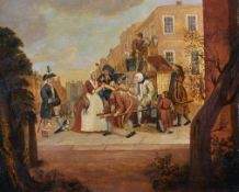 Late 18th Century English School. A Street Scene with Figures by a Sedan Chair. Oil on Panel,