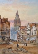 Edward W Nevil (19th – 20th Century) British. 'Frankfurt', a Street Scene with Figures, Watercolour,