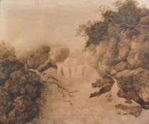 18th Century English School. A Waterfall Scene with Figures Fishing, Watercolour, in a Fine Gilt