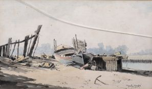 Martin Hardie (1875-1952) British. 'For Sale, Orford', Beached Vessels for Sale, Watercolour, Signed