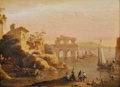 Manner of Franz de Paula Ferg (1689-1740) Austrian. A Capriccio Coastal Scene with Figures unloading