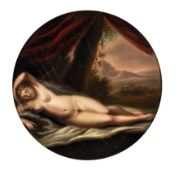 19th Century English School. A reclining Nude, with an Extensive Landscape beyond, Oil on Papier-
