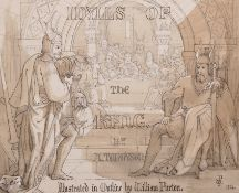 The Reverend William Purton (1833-1891) British. 'Idylls of the King', Pencil, Pen and Ink, Signed