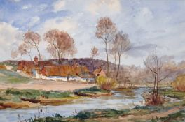 "James Aumonier (1832-1911) British. ""Near Montreuil"", Watercolour, Signed, and Inscribed on the"