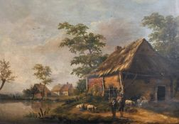 18th Century Dutch School. A River Landscape, with Figures and Sheep by Farm Buildings, Oil on
