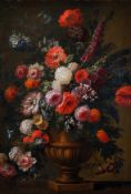 "Early 18th Century Italian School. Still Life of Flowers in an Urn, Oil on Canvas, 41.5"" x 29"" ("