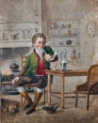 J… J… Young (early 19th Century) British. A Kitchen Interior with a Man Smoking a Pipe, Watercolour,