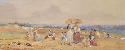 "John Ritchie (1846-1875) British. ""Harvest"", with Figures Resting during the Harvest, Watercolour,"