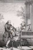 "After Louis Carmontelle Carrogis (1717-1806) French. ""Leopold Mozart"", Lithograph, 11.75"" x 8"" (30 x"