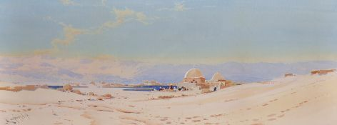 Augustus Osborne Lamplough (1877-1930) British. A Desert Scene with an Oasis in the distance,
