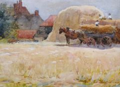 "H… Rogers (20th Century) British. A Harvesting Scene, Watercolour, Signed, 5.5"" x 7.25"" (14 x 18."