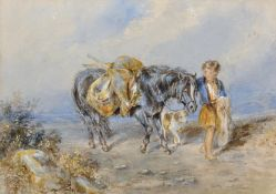 "John Frederick Tayler (1802-1889) British. A Young Boy with a Pony and Dog, Watercolour, 8.5"" x 11."