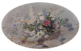 Leon Rousseau (1829-1881) French. Still Life of Flowers in an Urn, Oil on Canvas, Oval, Unframed,