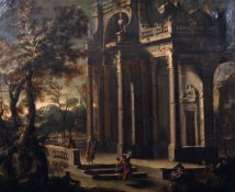 Circle of Viviano Codazzi (1604-1670) Italian. Figures outside a Classical Temple, Oil on Canvas, in