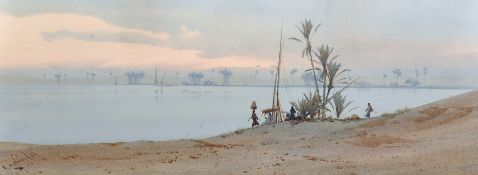 Augustus Osborne Lamplough (1877-1930) British. A Scene on the Nile, with Figures in the foreground,