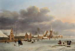 Andreas Schelfhout (1787-1870) Dutch. A Winter Town Scene, with Figures Skating, Oil on Panel,
