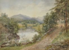 Helen Druce (19th - 20th Century) British. An Extensive River Landscape, with Figures by a Wooden