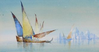 "William Knox (1862-1925) British. A Venetian Scene with Sailing Boats, Watercolour, Signed, 4"" x 7."