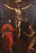 "18th Century Flemish School. Christ on the Cross, Oil on Canvas laid down, 52.5"" x 35.5"" (133.3 x"