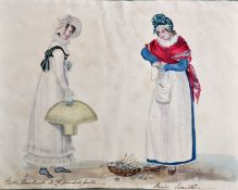 "19th Century English School ""Paris. Marchande de Chapeaux de Paille (straw hat)"" Watercolour"