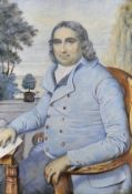 Early 19th Century English School. A Seated Gentleman, with a Landscape beyond, Watercolour, 5.5""