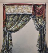 "19th Century English School. A Curtain Design, Watercolour and Bodycolour, 16"" x 14.25"" (40.8 x 36."