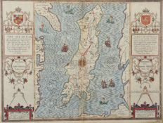 "John Speed (1552-1629) British. ""The Isle of Man"", Map in Colours, Inscribed 'John Speed 1610' and"