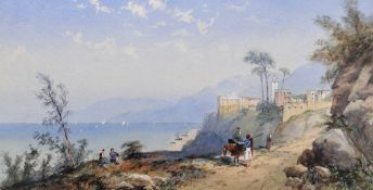 Attributed to Thomas Charles Leeson Rowbotham (1823-1875) British. An Italianate Coastal Scene