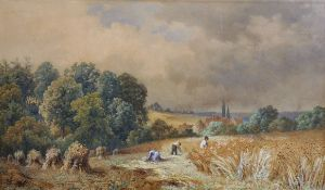 "Circle of Edmund George Warren (1834-1909) British. ""The Reapers, 1883"", a Harvesting Scene,"