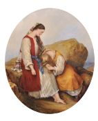"19th Century English School. 'The Sisters of Greece', Watercolour, Oval, 13"" x 11"" (33 x 28cm)"